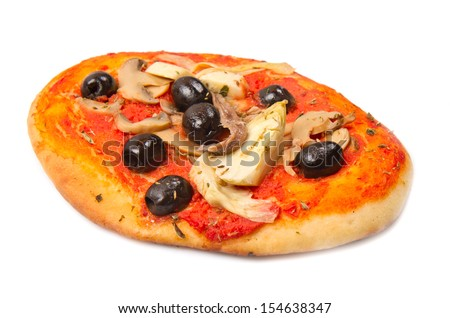 Pizza with olives and artichokes
