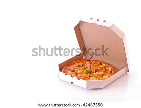 Pizza with olives in the box