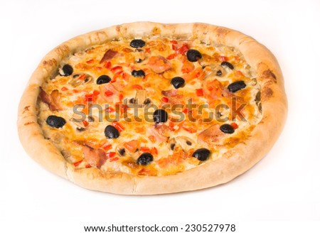 pizza with olives on a white background
