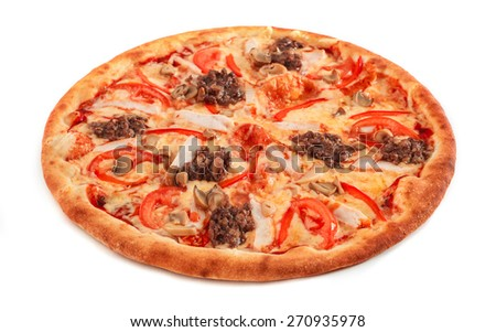 Pizza with pastrami, mushrooms and ground beef isolated on white - stock photo