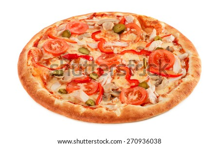 Pizza with pastrami, mushrooms, pepper and cucumber isolated on white