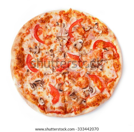 Pizza with pastrami, mushrooms, tomato isolated on white