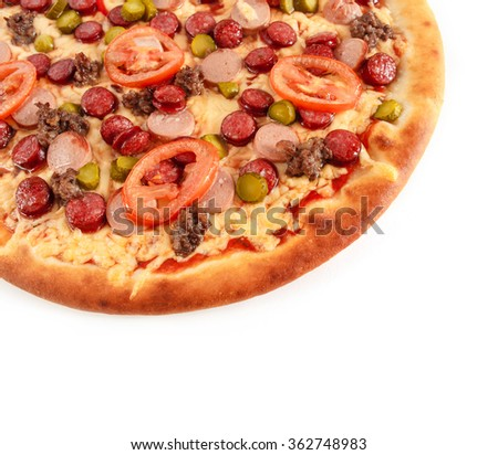 Pizza with pastrami, tomatoes, cucumber, ground beef and sausage isolated on white