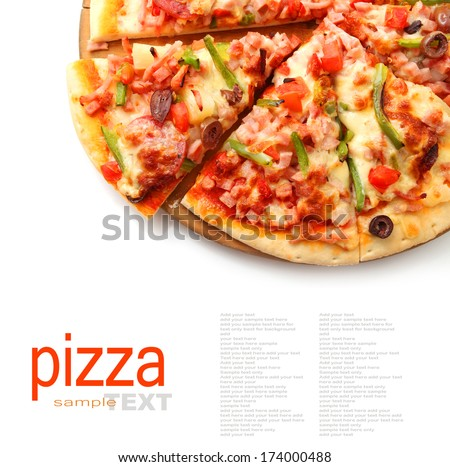 pizza with pepperoni, bell peppers, black olives isolated on white  - stock photo