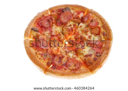 Pizza with pepperoni, ham and spicy sausage topping on white background.