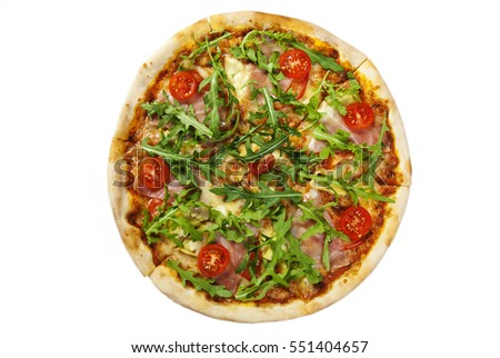 Pizza With Prosciutto Parma Ham Arugula Salad Rocket And Parmesan Isolated