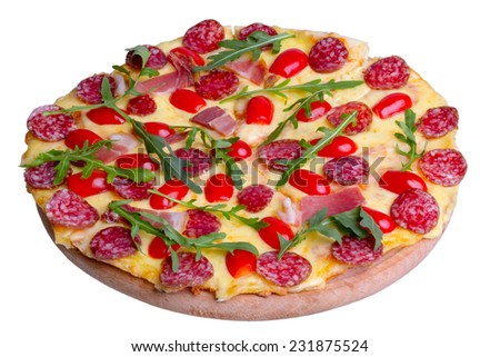Pizza with salami and arugula, isolated on white background