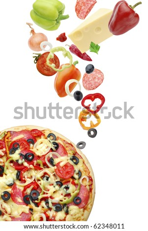 Pizza with salami and paprika - stock photo