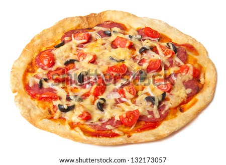 pizza with salami and tomatoes isolated on white background