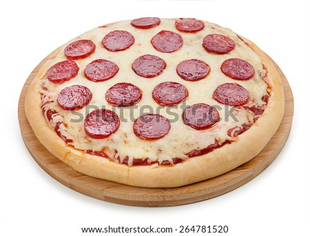 Pizza with salami isolated on white background - stock photo