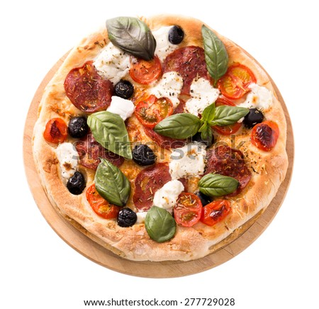 Pizza with salami, mozzarella, olives and basil top view rustic style isolated on white
