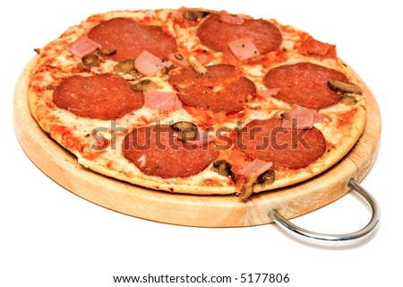 Pizza with salami, shallow depth of field