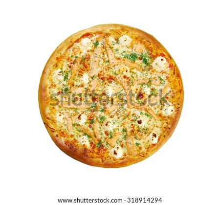 Pizza  with salmon and cream sauce.Studio. Isolated on white background.
