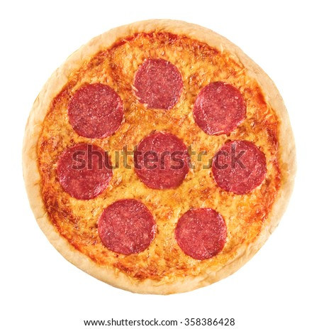 Pizza with sausage on a white background. Pepperoni. Macro.
