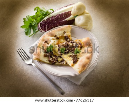 pizza with scamorza and radicchio