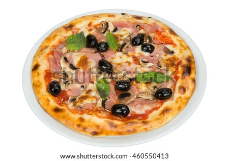 Pizza with tomato sauce, bacon, mushrooms and olives.