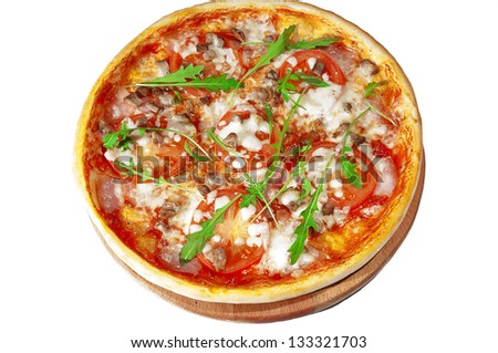 Pizza with tomatoes, bacon, pork  on wooden stand, isolated on white background.