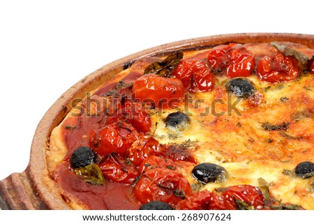 Pizza with tomatoes, black olives and cheese - stock photo
