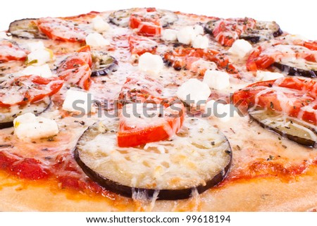 Pizza with tomatoes, cheese and eggplant white background - stock photo