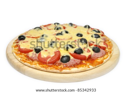 Pizza with tomatoes, sausage and olives isolated on white background