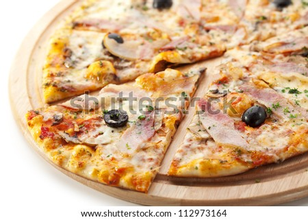 Pizza with Various Type of Meat and Black Olives - stock photo
