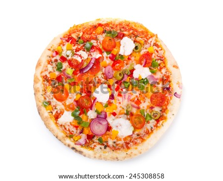 pizza with vegetables on white background - stock photo
