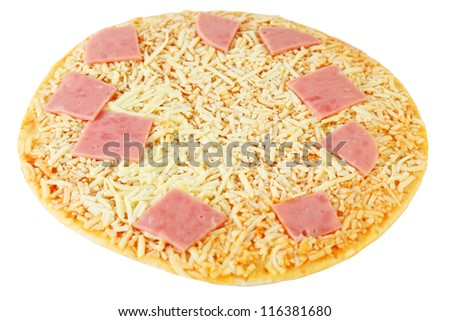 Pizza with yellow cheese and pink ham isolated on white background. - stock photo