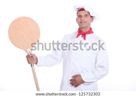 Pizzaiolo showing his shovel