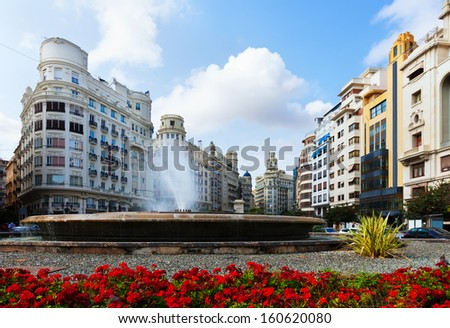 Placa del Ajuntament in summer. Valencia, Spain - stock photo
