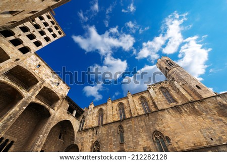 Placa del Rei - Barcelona Spain / Palau Reial Major (XIV century) Catalan Gothic style and Chapel of St. Agata at Placa del Rei in Barcelona, Catalonia, Spain  - stock photo