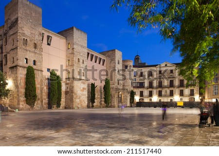 Placa Nova at night, medieval city square in Gothic Quarter (Barri Gotic) of the Barcelona in Catalonia, Spain. - stock photo
