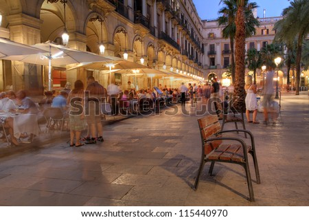 Placa Reial (Royal Plaza) in the old quater of Barcelona, Spain at night. - stock photo