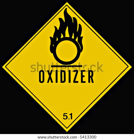 Placard or sign warning of an oxidizing chemical - stock photo
