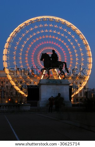 Place Bellecour of Lyon France - stock photo