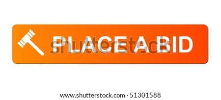 Place Bid button with a auction hammer on white background. - stock photo