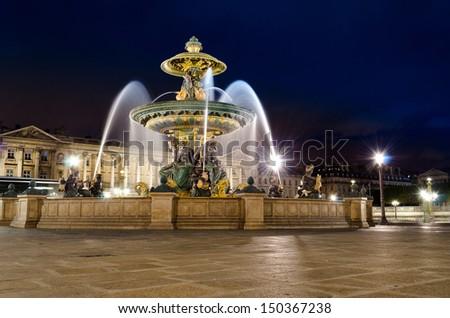 Place de la Concorde at night � Paris, France - stock photo
