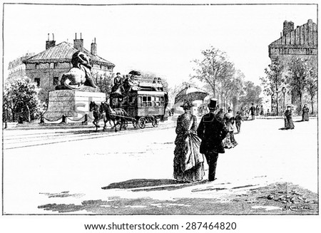 Place Denfert-Rochereau, vintage engraved illustration. Paris - Auguste VITU - 1890. - stock photo