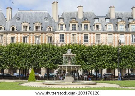 place des vosges in the city of paris - stock photo