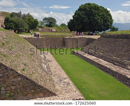 place for ball games  of Monte Alban, Oaxaca, Mexico - stock photo
