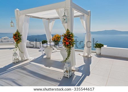 Place for the wedding celebration of the sea in the background, Greece