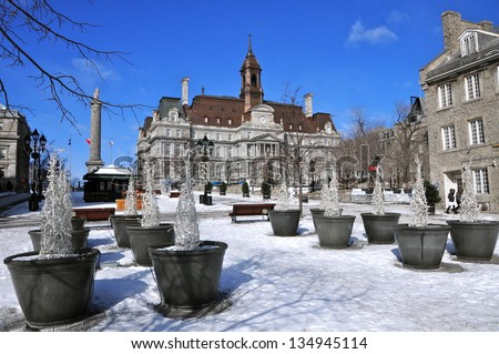 Place Jacques Cartier in Winter, Montreal, Canada - stock photo