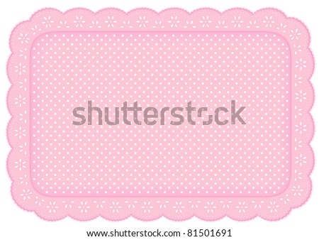 Place Mat, eyelet lace doily. Decorative white polka dots on pastel pink background for home decor, table setting, arts, crafts, scrapbooks, albums, backgrounds. Copy space. Isolated on white. - stock photo