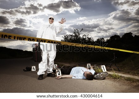 Place of crime - do not cross - stock photo