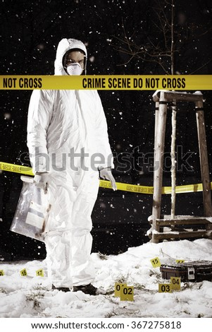 Place of police investigation in progress - stock photo