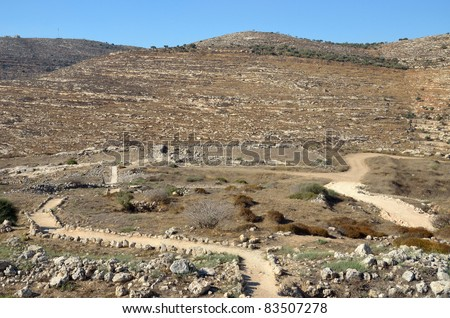 Place of the Tabernacle in Shiloh Valley - stock photo