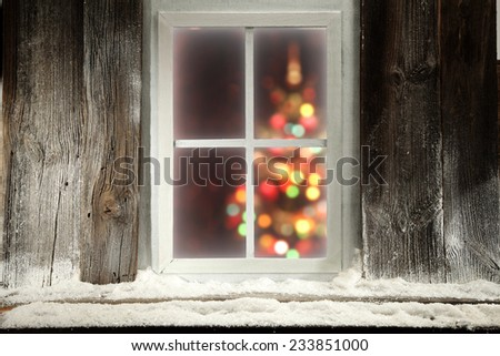 place of window sill and xmas tree  - stock photo