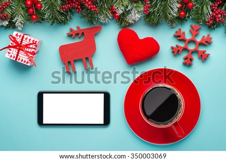 Place On Office Table With Phone Red Gifts Decoration Items And A Cup Of Coffee
