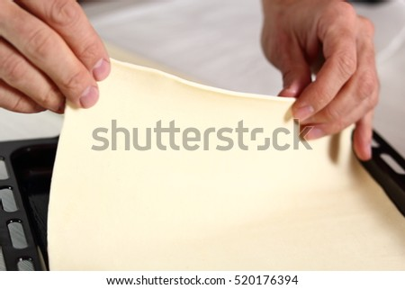 Place puff pastry sheet on baking tray. Making Chicken and Egg Galette Series.
