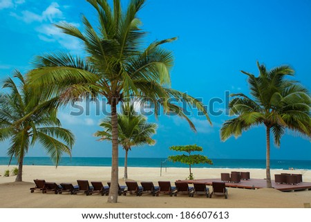 Place relaxing on the beach of the Indian Ocean. Pasikuda popular resort beach