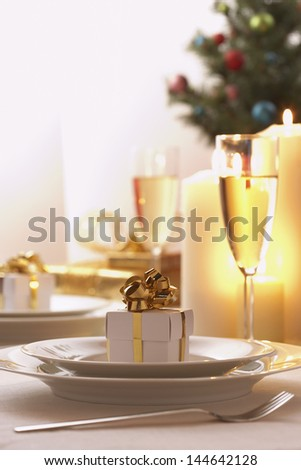 Place setting at Christmas - stock photo